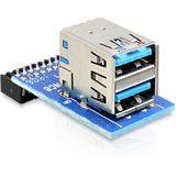 Delock USB3.0 Adapter Pinheader -> 2x A Bu/Bu horizontal