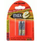 ANSMANN maxE HR03 Nickel-Metall-Hydrid AAA Micro Akku 800 mAh 2er Pack