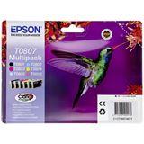 Epson T0807 Tintenpatrone schwarz und fünf Farben Standardkapazität black and colour: 7.4ml 6er-Pack