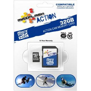 32 GB MAXFLASH Action microSDHC Class 10 Retail inkl. Adapter auf SD