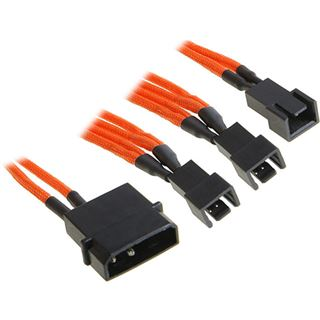 BitFenix Molex zu 3x 3-Pin 5V Adapter 20cm - sleeved orange/schwarz