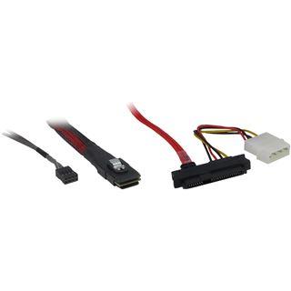 (€57,80*/1m) 0.50m Inter-Tech SAS Adapterkabel SFF-8087 Stecker auf 4xSFF-8482 Schwarz/Rot