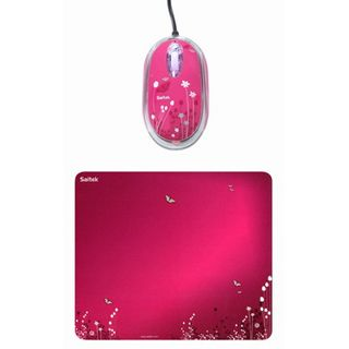 Saitek Expression Mouse & Pad Butterfly Optische Maus Pink USB
