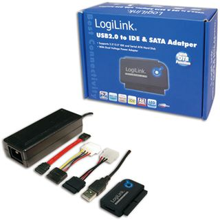 """LogiLink USB 2.0 SATA/IDE Adapter für 2.5"""" und 3.5"""" Festplatten (AU0006C)"""
