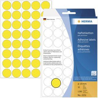 Herma 2251 gelb rund Vielzwecketiketten 1.9x1.9 cm (32 Blatt (1280 Etiketten))