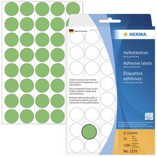 Herma 2255 gruen rund Vielzwecketiketten 1.9x1.9 cm (32 Blatt (1280 Etiketten))