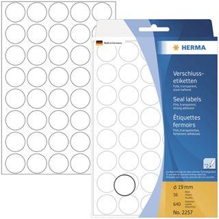 Herma 2257 transparent extrem haftend Verschlussetiketten 1.9x1.9 cm (16 Blatt (640 Etiketten))