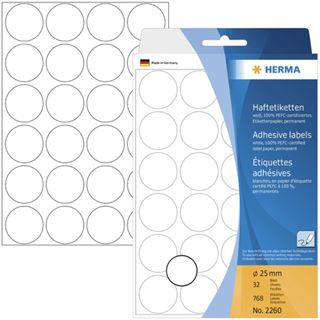 Herma 2260 rund Vielzwecketiketten 2.5x2.5 cm (32 Blatt (768 Etiketten))