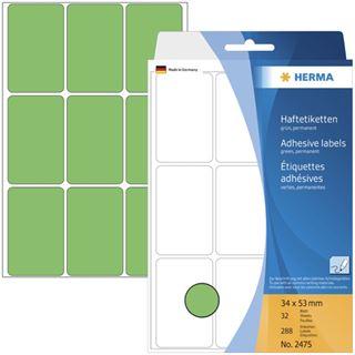 Herma 2475 gruen Vielzwecketiketten 3.4x5.3 cm (32 Blatt (288 Etiketten))