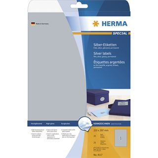 Herma 4117 silber Folie Universal-Etiketten 21.0x29.7 cm (25 Blatt (25 Etiketten))