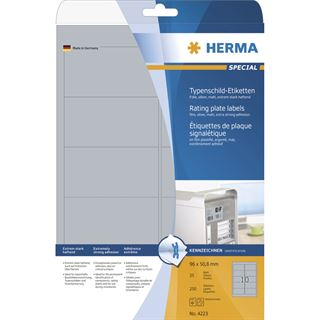 Herma 4223 silber Typenschild-Etiketten 9.6x5.08 cm (25 Blatt ( 250 Etiketten))