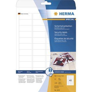 Herma 4232 Sicherheitsetiketten 4.57x2.12 cm (25 Blatt (1200 Etiketten))