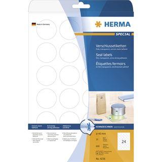 Herma 4236 transparent Verschlussetiketten 4x4 cm (25 Blatt (600 Etiketten))