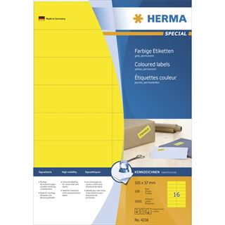 Herma 4256 gelb Universal-Etiketten 10.5x3.7 cm (100 Blatt (1600 Etiketten))