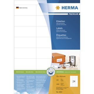 Herma 4263 Premium Universal-Etiketten 7x3.38 cm (100 Blatt (2400 Etiketten))