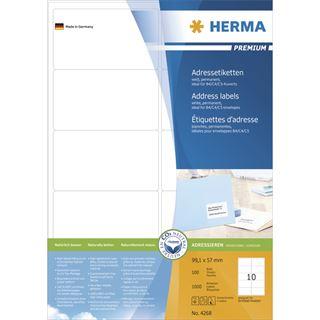 Herma 4268 Premium Adressetiketten 9.91x5.7 cm (100 Blatt (1000 Etiketten))