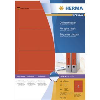 Herma 4297 rot Ordneretiketten 19.2x6.1 cm (100 Blatt (400 Etiketten))
