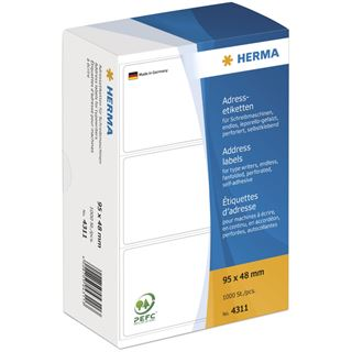 Herma 4311 endlos Adressetiketten für Schreibmaschinen 9.5x4.8 cm (1000 Stück)