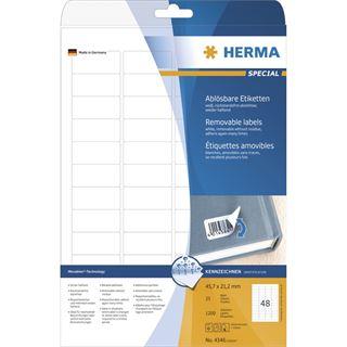 Herma 4346 ablösbar Universal-Etiketten 4.57x2.12 cm (25 Blatt (1200 Etiketten))
