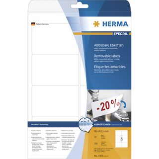 Herma 4350 ablösbar Universal-Etiketten 9.6x6.35 cm (25 Blatt (200 Etiketten))