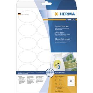 Herma 4358 oval Universal-Etiketten 6.35x4.23 cm (25 Blatt (450 Etiketten))