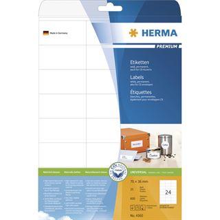 Herma 4360 Premium Universal-Etiketten 7.0x3.6 cm (25 Blatt (600 Etiketten))