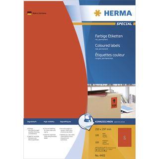 Herma 4402 rot Universal-Etiketten 21.0x29.7 cm (100 Blatt (100 Etiketten))