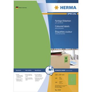Herma 4404 grün Universal-Etiketten 21.0x29.7 cm (100 Blatt (100 Etiketten))