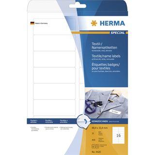 Herma 4420 ablösbar Acetatseide Namensetiketten 8.89x3.38 cm (25 Blatt (400 Etiketten))