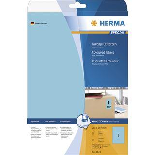 Herma 4423 blau Universal-Etiketten 21.0x29.7 cm (20 Blatt (20 Etiketten))