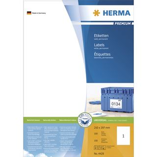 Herma 4428 Premium Universal-Etiketten 21.0x29.7 cm (100 Blatt (100 Etiketten))