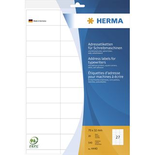 Herma 4440 Adressetiketten für Schreibmaschinen 7.0x3.2 cm (20 Blatt (540 Etiketten))