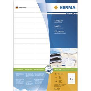 Herma 4459 Premium Universal-Etiketten 7x1.69 cm (100 Blatt (5100 Etiketten))