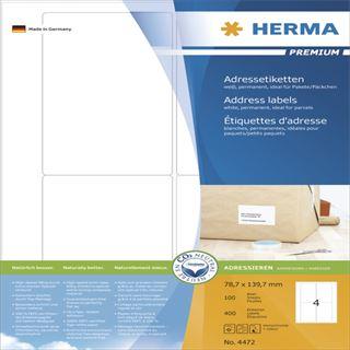 Herma 4472 Premium Adressetiketten 7.87x13.97 cm (100 Blatt (400 Etiketten))