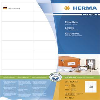 Herma 4612 Premium Universal-Etiketten 7x2.97 cm (200 Blatt (6000 Etiketten))