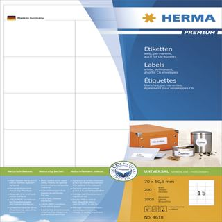 Herma 4618 Premium Universal-Etiketten 7x5.08 cm (200 Blatt (3000 Etiketten))