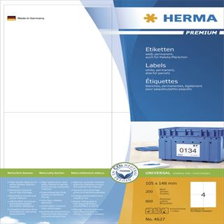 Herma 2627 Premium Universal-Etiketten 10.5x14.8 cm (200 Blatt (800 Etiketten))