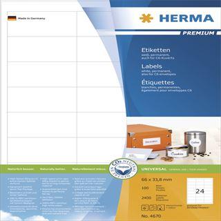 Herma 4670 Premium Universal-Etiketten 6.6x3.38 cm (100 Blatt (2400 Etiketten))