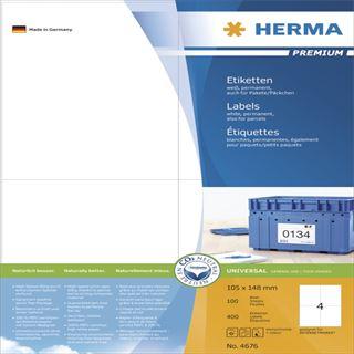 Herma 4676 Premium Universal-Etiketten 10.5x14.8 cm (100 Blatt (400 Etiketten))