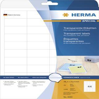 Herma 4680 Folie Transparent-Etiketten 4.83x2.54 cm (25 Blatt (1100 Etiketten))