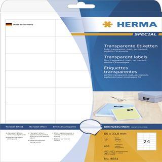 Herma 4681 Folie Transparent-Etiketten 6.6x3.38 cm (25 Blatt (600 Etiketten))