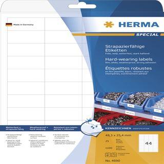 Herma 4690 extrem stark haftend Universal-Etiketten 4.83x2.54 cm (25 Blatt (1100 Etiketten))