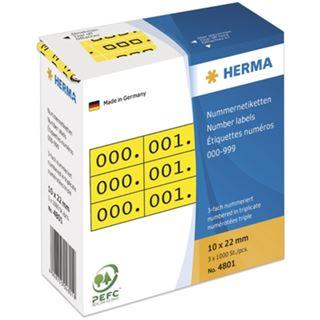 Herma 4801 gelb/schwarz selbstklebend 3fach Nummernetiketten 1x2.2 cm (3000 Stück (000-999))