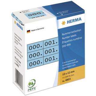 Herma 4803 blau/schwarz selbsklebend 3fach Nummernetiketten 1x2.2 cm (3000 Stück (000-999))