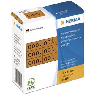 Herma 4807 braun/schwarz selbstklebend 3fach Nummernetiketten 1x2.2 cm (3000 Stück (000-999))