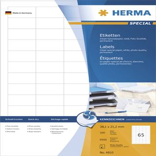 Herma 4810 Inkjet-Etiketten 3.81x2.12 cm (100 Blatt (6500 Etiketten))