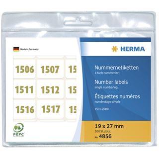 Herma 4856 oliv selbstklebend Nummernetiketten 1.9x2.7 cm (500 Stück (1-500))