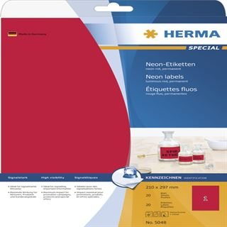 Herma 5048 neon-rot Universal-Etiketten 21.0x29.7 cm (20 Blatt (20 Etiketten))