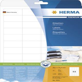 Herma 5051 Premium Universal-Etiketten 4.83x2.54 cm (25 Blatt (1100 Etiketten))