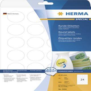Herma 5066 rund ablösbar Universal-Etiketten 4x4 cm (25 Blatt (600 Etiketten))